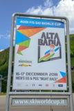 Segno dello Skiworldcup a Corvara in Badia su Badia, dolomia, Italia Immagine Stock Libera da Diritti