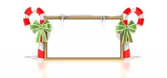 Segno dello spazio in bianco della canna di caramella Fotografie Stock