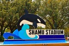 Segno dello stadio di Shamu al parco a tema di Seaworld fotografia stock