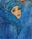 Segno dello zodiaco del Aquarius come bella ragazza Illustrazione di Stock
