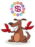 Segno dello zodiaco del Cancro con il cane del fumetto illustrazione vettoriale