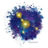 Segno dello zodiaco del Cancro con la macchia strutturata dell'acquerello illustrazione vettoriale