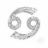 Segno dello zodiaco del Cancro Illustrazione disegnata a mano dell'oroscopo di vettore Pagina astrologica di coloritura Fotografia Stock Libera da Diritti