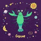 Segno dello zodiaco del Cancro sul fondo del cielo notturno con le stelle Fotografia Stock