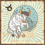 Segno dello zodiaco del Taurus Carta d'annata dell'oroscopo Fotografie Stock Libere da Diritti