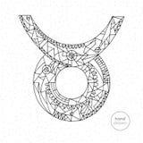 Segno dello zodiaco del Taurus Illustrazione disegnata a mano dell'oroscopo di vettore Pagina astrologica di coloritura Immagine Stock Libera da Diritti