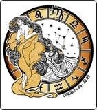 Segno dello zodiaco del Vergine. Cerchio dell'oroscopo. Vettore Illustra Fotografie Stock