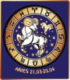 Segno dello zodiaco dell'Ariete. Cerchio dell'oroscopo. Retro Illustrat Fotografie Stock