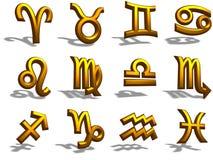 segno dello zodiaco dell'oro 3D Fotografie Stock Libere da Diritti