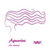Segno dello zodiaco di acquario Profilo femminile stilizzato di contorno Immagini Stock