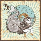 Segno dello zodiaco di capricorno Carta d'annata dell'oroscopo Fotografia Stock