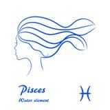 Segno dello zodiaco di pesci Profilo femminile stilizzato di contorno Fotografia Stock Libera da Diritti