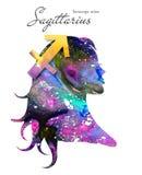 Segno dello zodiaco di Sagittario Bella siluetta della ragazza Illustrazione dell'acquerello Serie dell'oroscopo illustrazione di stock