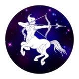 Segno dello zodiaco di Sagittario, simbolo dell'oroscopo, illustrazione di vettore Fotografia Stock Libera da Diritti