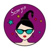 Segno dello zodiaco di scorpione, avatar femminile Immagine Stock