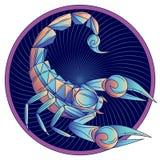 Segno dello zodiaco di scorpione, blu di simbolo dell'oroscopo, vettore Fotografia Stock Libera da Diritti