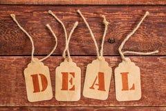 Segno di affare sui prezzi da pagare Fotografia Stock