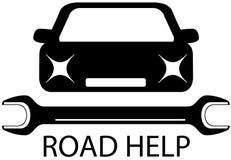 Segno di aiuto della strada con l'automobile e gli strumenti neri per la riparazione Immagine Stock
