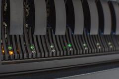 Segno di allarme di errore del disco rigido LED del server del computer Fotografia Stock
