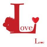 Segno di amore su rosso illustrazione vettoriale