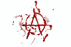 Segno di anarchia dipinto pittura rossa Fotografia Stock