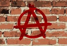 Segno di anarchia su struttura del muro di mattoni, Fotografia Stock