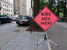 Segno di area di lavoro di NYC avanti, Central Park ad ovest, NYC, NY, U.S.A. Fotografia Stock