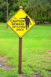 Segno di avvertenza dei dischi di volo di golf del disco Fotografia Stock