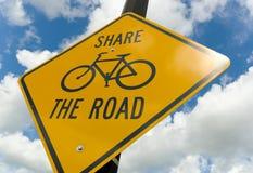 Segno di avvertenza della bicicletta Fotografie Stock