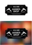 Segno di Barber Shop con i hairdryers Fotografie Stock Libere da Diritti