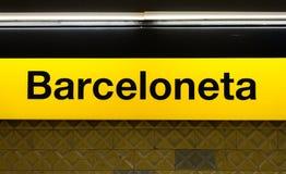 Segno di Barceloneta Immagine Stock