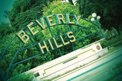 Segno di Beverly Hills a Beverly Gardens Park, Los Angeles Fotografia Stock