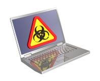 Segno di Biohazard sullo schermo del computer portatile Fotografia Stock Libera da Diritti