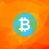 Segno di Bitcoin Bitcoin sul vettore piano della terra Successo di cryptocurrency di Digital Fotografia Stock Libera da Diritti