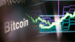 Segno di Bitcoin Cryptocurrency Il comportamento degli scambi di cryptocurrency, concetto Tecnologie finanziarie moderne fotografia stock libera da diritti
