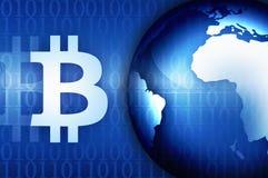 Segno di Bitcoin soldi e simbolo di finanza sull'illustrazione del fondo di notizie Fotografia Stock
