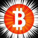 Segno di Bitcoin su un fondo astratto fotografie stock libere da diritti