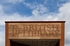 Segno di british library Immagine Stock