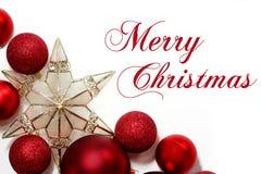 Segno di Buon Natale con il confine degli ornamenti Fotografia Stock Libera da Diritti