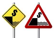 Segno di caduta del dollaro Immagine Stock Libera da Diritti