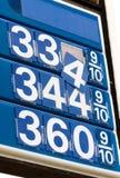 Segno di caduta di prezzi di gas Fotografia Stock