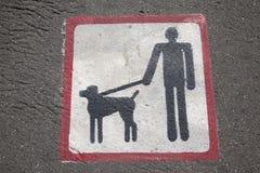 Segno di camminata del cane Fotografie Stock Libere da Diritti