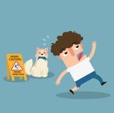 Segno di cautela dei cani da guardia del pericolo Fotografia Stock