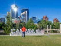 Segno di celebrazione del Canada 150 Fotografia Stock