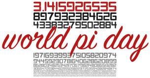Segno di celebrazione di giorno del mondo pi su bianco illustrazione vettoriale
