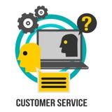 Segno di concetto di affari di servizio di assistenza al cliente con il computer portatile, gli ingranaggi ed il punto interrogat illustrazione vettoriale