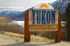 Segno di confine del Yukon Immagine Stock