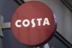 Segno di Costa Coffee immagini stock