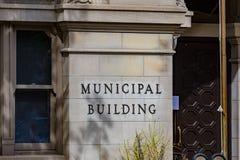 Segno di costruzione municipale a della città di Lancaster fotografie stock