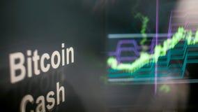 Segno di Cryptocurrency dei contanti di Bitcoin Il comportamento degli scambi di cryptocurrency, concetto Tecnologie finanziarie  illustrazione di stock